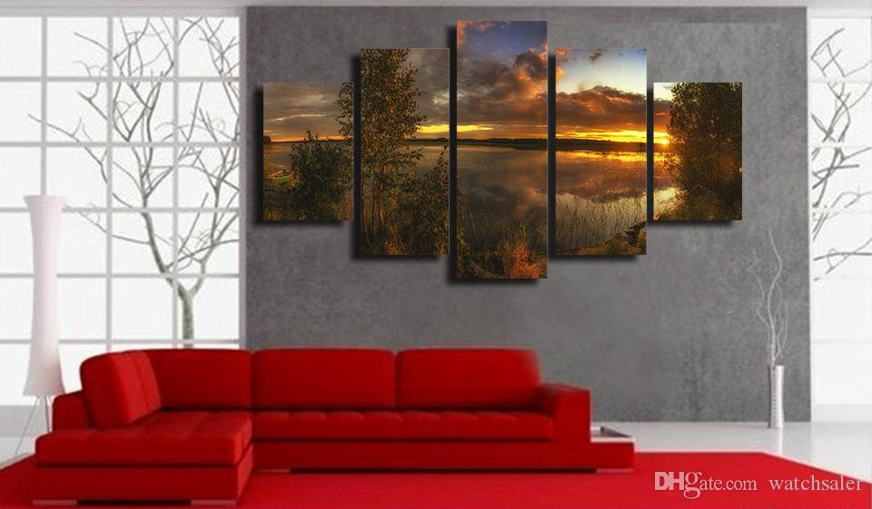 HD Printed Sunset Lake Tree Painting Canvas Print room decor print poster picture oil paintings canvas