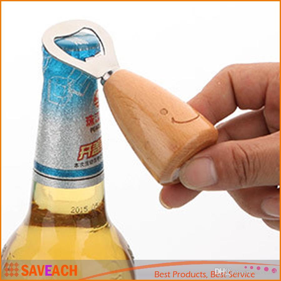 Best creative smile face wooden handle beer bottle opener cute funny stainless steel bottle opener household bar tool under 2 5 dhgate com