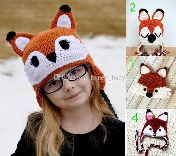 2019 Christmas Crochet Fox Hat Baby Boy Girl Knitted Hat Winter Newborn  Infant Toddler Animal Cap Newborn Kids Children Beanie Photography Prop  From ... efbed8fd4c9