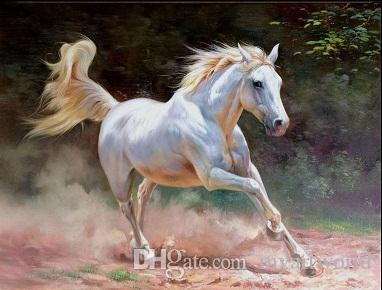 Framed white runing horse,Pure Hand Painted ANIMALS Art Oil Painting On Thick Canvas.Multi sizes Available Free Shipping HS061