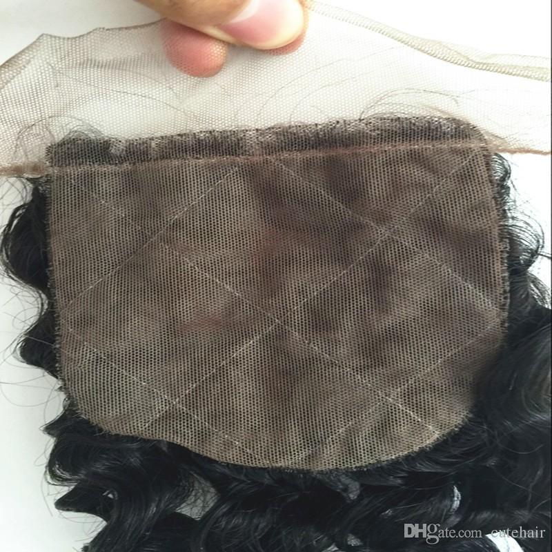 Profonde bouclés malaisiens cheveux fermeture en soie 8a non transformés vierges fermeture
