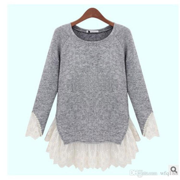 New women's spring 2018 fashion lace stitching long sleeve knit unlined upper garment to render joker T-shirt