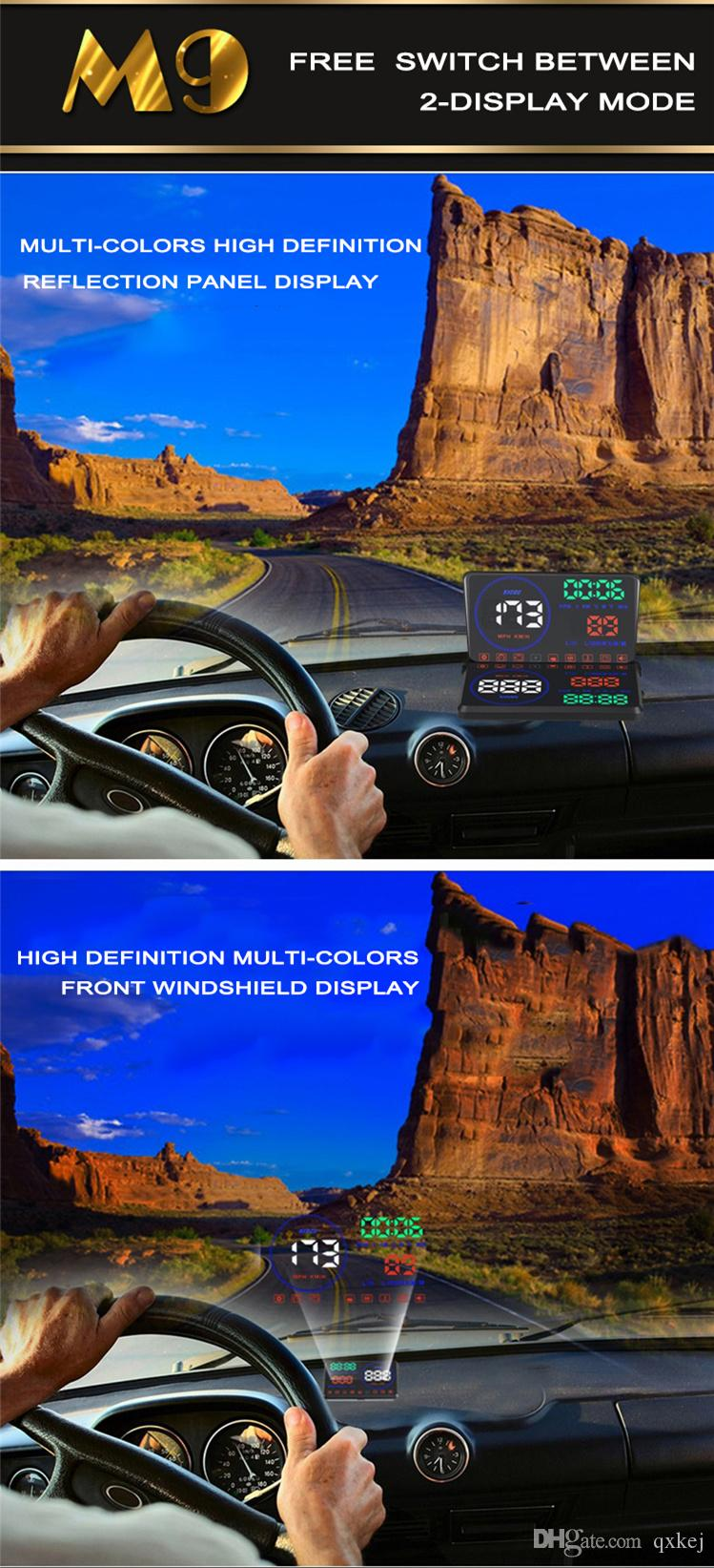 "New arrival M9 5.5"" Car HUD Head Up Display Vehicle-mounted Security System OBD2 Interface Plug/Play KM/h MPH Speeding Warning"