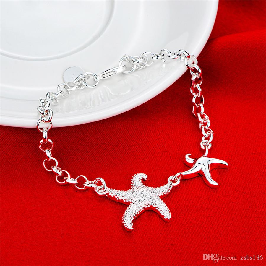 925 Silver charm bracelet starfish fashion jewelry for women beautiful birthday gift fine accessories cheap wholesale