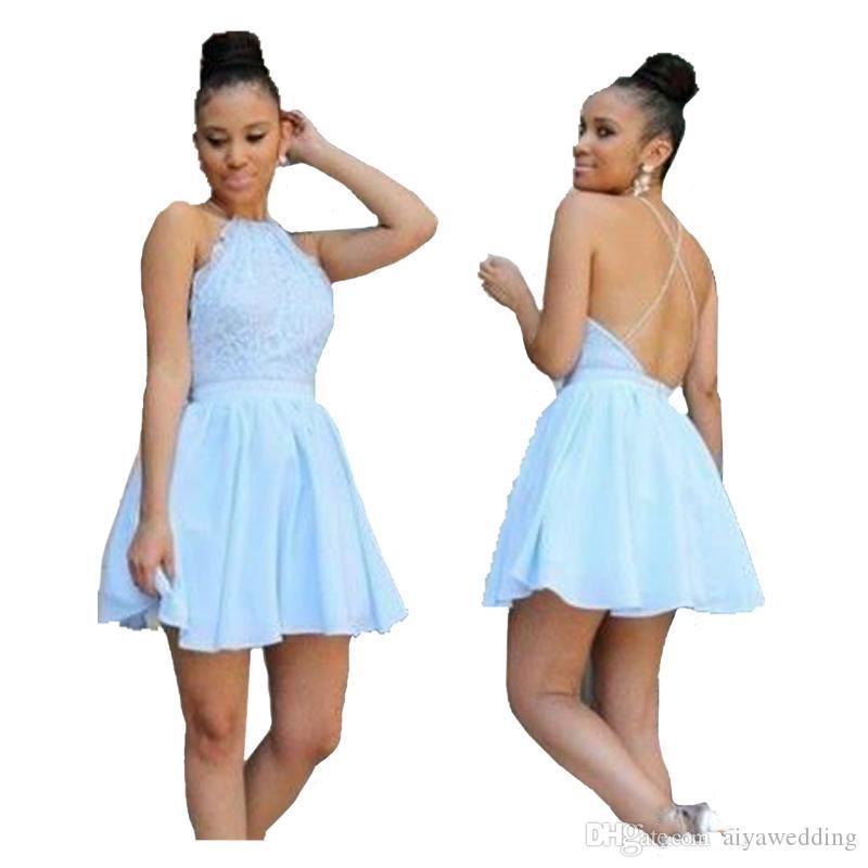 Simple Light Blue Dress Cheap
