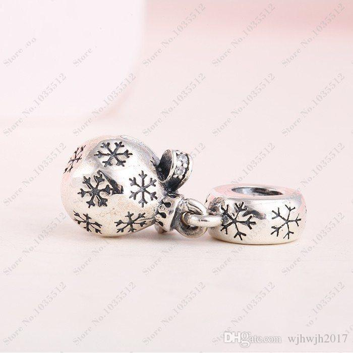 New Authentic 925 Sterling Silver Christmas Ornament Dangle Beads with Clear Cz Charm Fit European charm Bracelets DIY jewelry Making