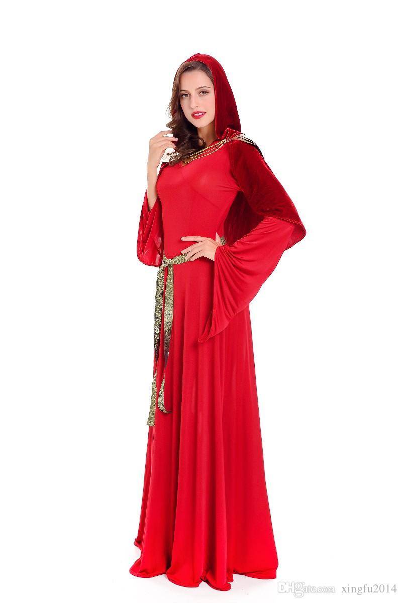 Cosplay Sexy Griechische Göttin Disfraces Red Slim Fit Langes Kleid Karneval Kostüm Fantasia Halloween Kostüme für Frauen