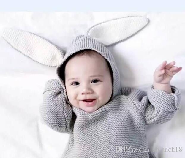 Nuevo otoño invierno lindo bebé suéter orejas de conejo con capucha de punto tops suéter niños niñas niños prendas de punto jerseys niños ropa gris