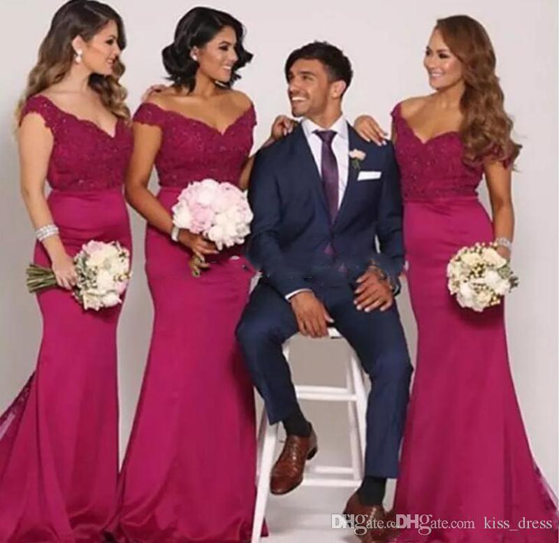 Borgogna Off-the-spalla Abiti da damigella d'onore 2019 New Hot Selling popolare Sweep treno Mermaid Lace Prom abiti da sposa in pizzo Custom Made B95