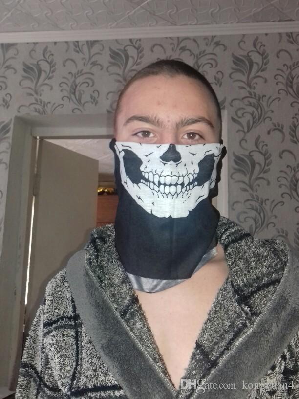 Máscaras Máscara Do Partido Do Crânio do Dia Das Bruxas Preto Motocicleta Multi Função Headwear Chapéu Cachecol Pescoço Assustador Esporte Rosto Máscara de Esqui de Inverno