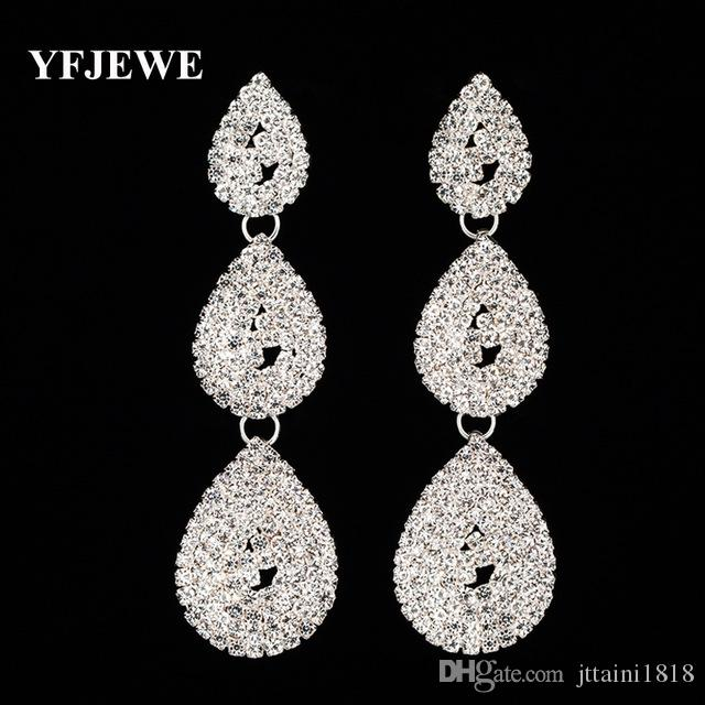 2019 YFJEWE Trendy Crystal Long Dangle Earrings For Women Gold And Silver  Plated Fashion Wedding Jewelry Water Drop Brincos E381 From Jttaini1818 0c5fc86db8e2