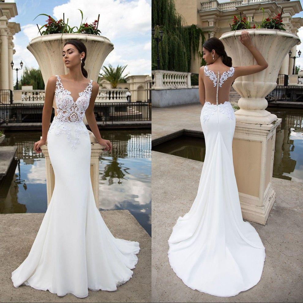 White Lace Mermaid Wedding Dresses Sheer Illusion Bodice Plus Size Summer Beach Dress Bridal Gowns Amazing Backless: Plus Size White Beach Wedding Dress At Websimilar.org