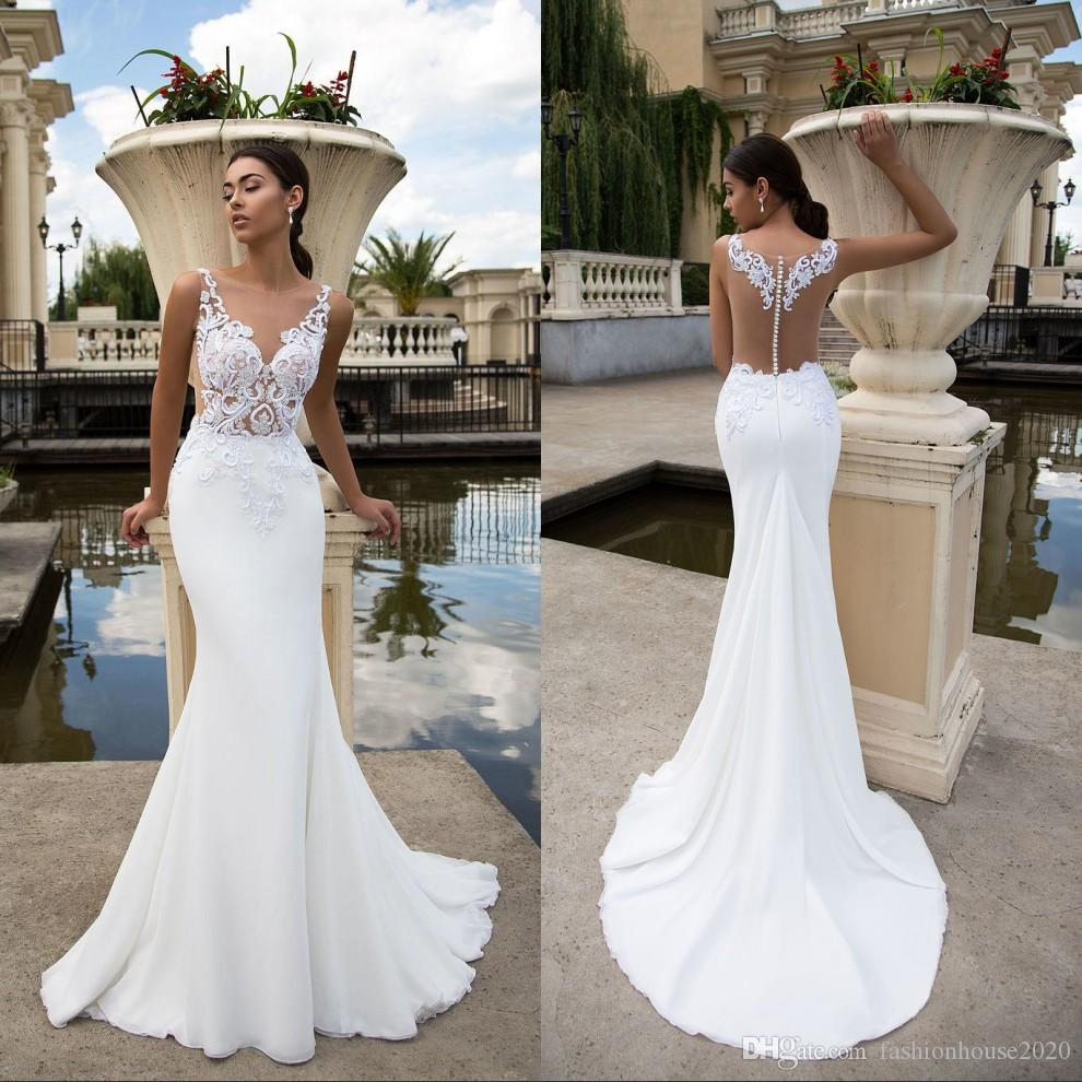Wedding White Dresses: White Lace Mermaid Wedding Dresses Sheer Illusion Bodice