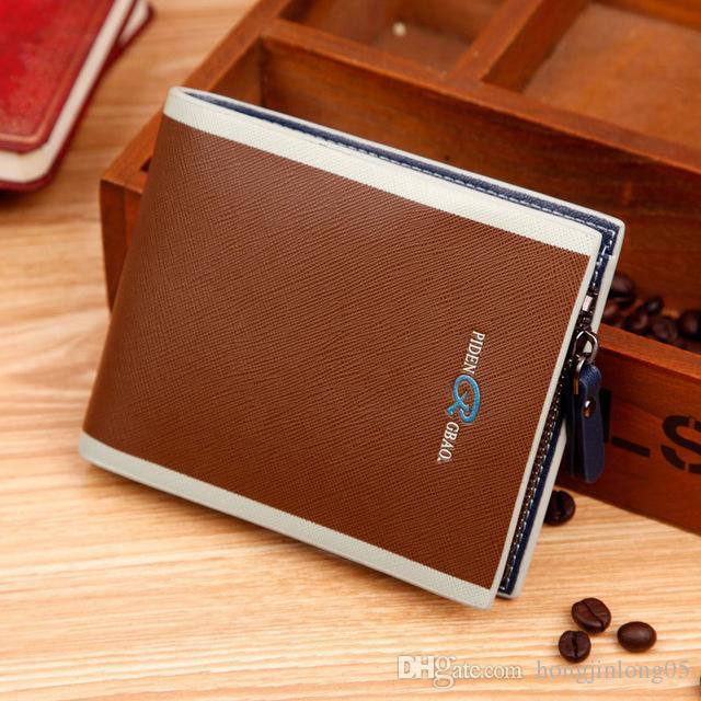 Mode Neue Reißverschluss männer Brieftasche Student 3 Designer Qualitätsgarantie Schwarz Blau Kreditkarteninhaber Geldbörse Brieftasche Freies Verschiffen