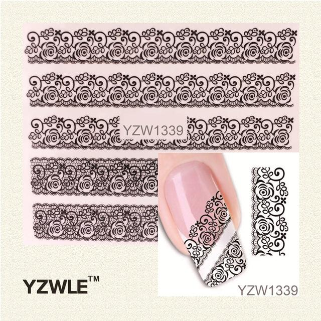 Wholesale-YZWLE 1 Sheet Black Lace Flowers Watermark Nail Sticker, Water  Transfer Nail Decals For UV Gel Polish Nail Decoration Tools