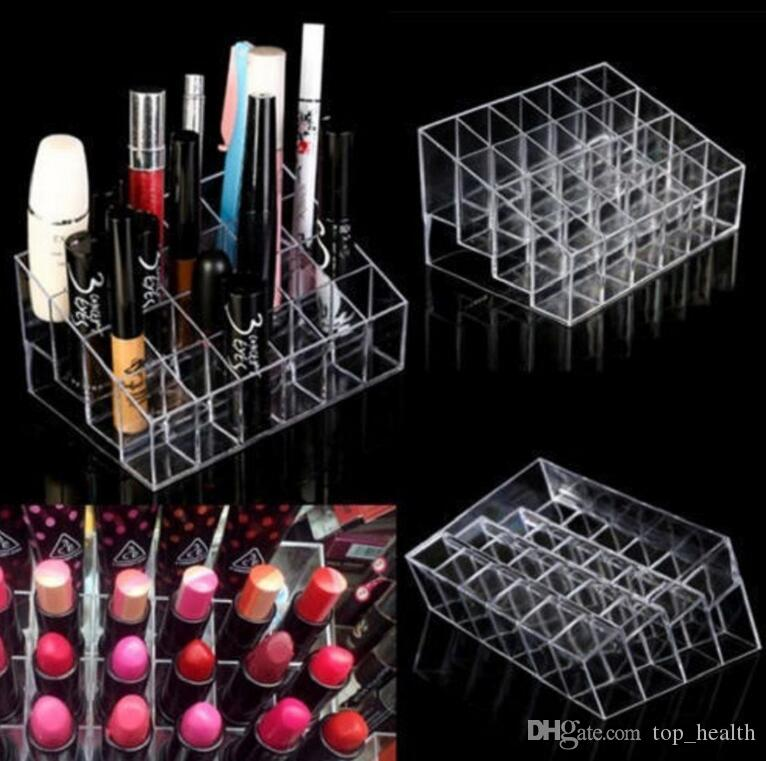 Clear Acrylic 24 Lipstick Holder Display Stand Cosmetic Organizer Makeup Case makeup organizer e Display Stand Rack Holder KKA2379