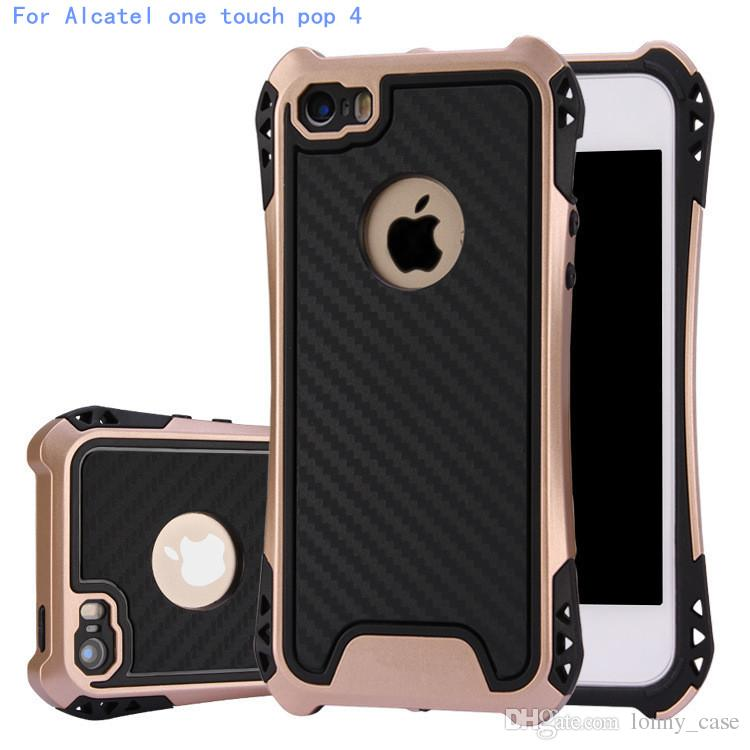 Caseology Case Hybrid Armor Cover For Alcatel one touch pop 4 Pixi 4.0 inch Rubber Shockproof Combo Carbon Fiber Case Back Cover