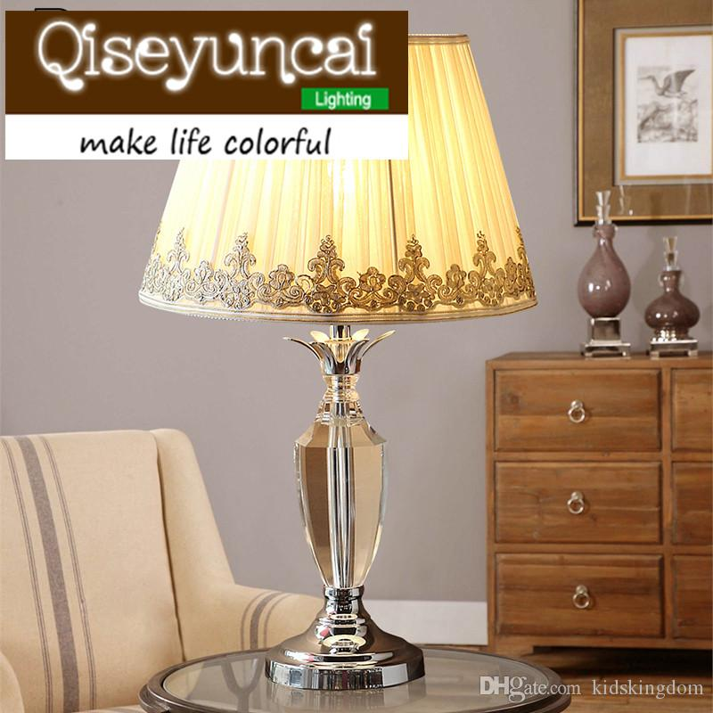 Qiseyuncai European style The wedding cozy bedroom K9 crystal table lamp modern simplicity luxury high-end fashion lighting