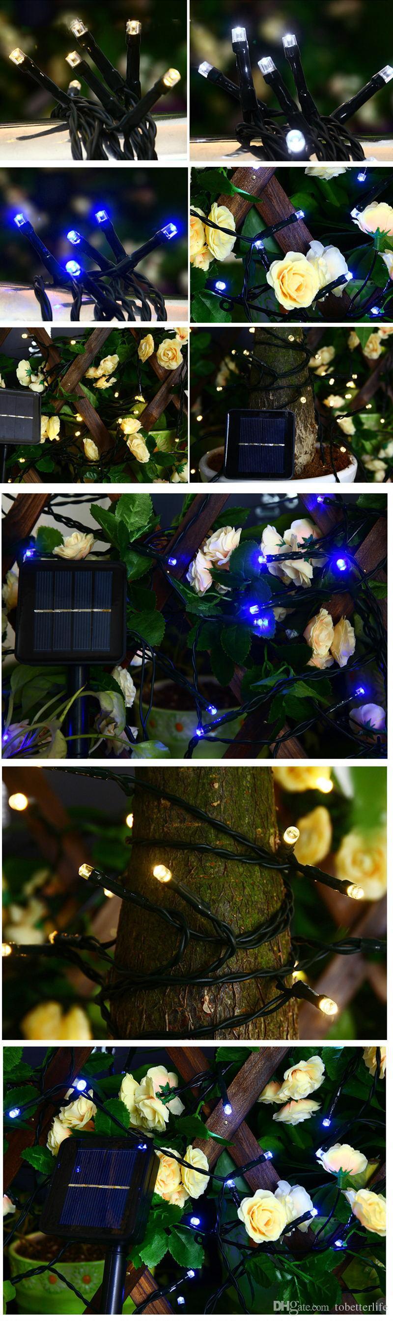 المصابيح الشمسية LED أضواء سلسلة 100LED 200LED في الهواء الطلق الجنية عطلة عيد الميلاد حزب جارلاندز الحديقة حديقة للماء