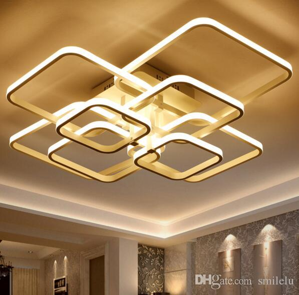 Square Circle Rings Chandelier For Living Room Bedroom Home Ac85-265v Modern Led Ceiling Chandelier Lamp Fixtures Free Shipping Ceiling Lights & Fans