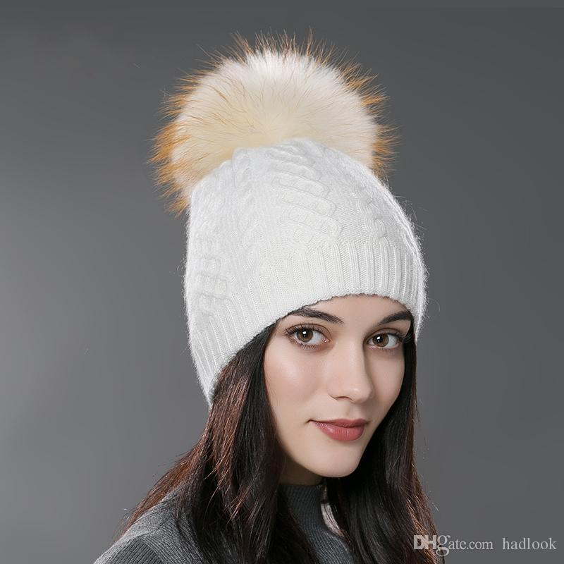 Winter Fur Pompom Hat For Women Cashmere Wool Cotton Hat Big Real Raccoon Fur  Pompom Beanies Cap Fox Fur Bobble Hat Knit Hats Cheap Hats From Hadlook e27cc5fdf93