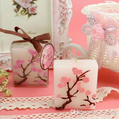Bougies De Mariage Sans Parfum Cire parfumée Cherry Blossoms Bougie De Mariage Cadeau Cadeaux Faveurs Partie Décoration