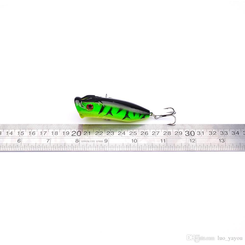 5 couleurs 6.5cm 12g Popper Leurres en plastique dur Crochets de pêche Hameçons 3D Yeux de pêche appâts 6 # Crochet Leurre artificiel Pesca Tackle Accessoires.