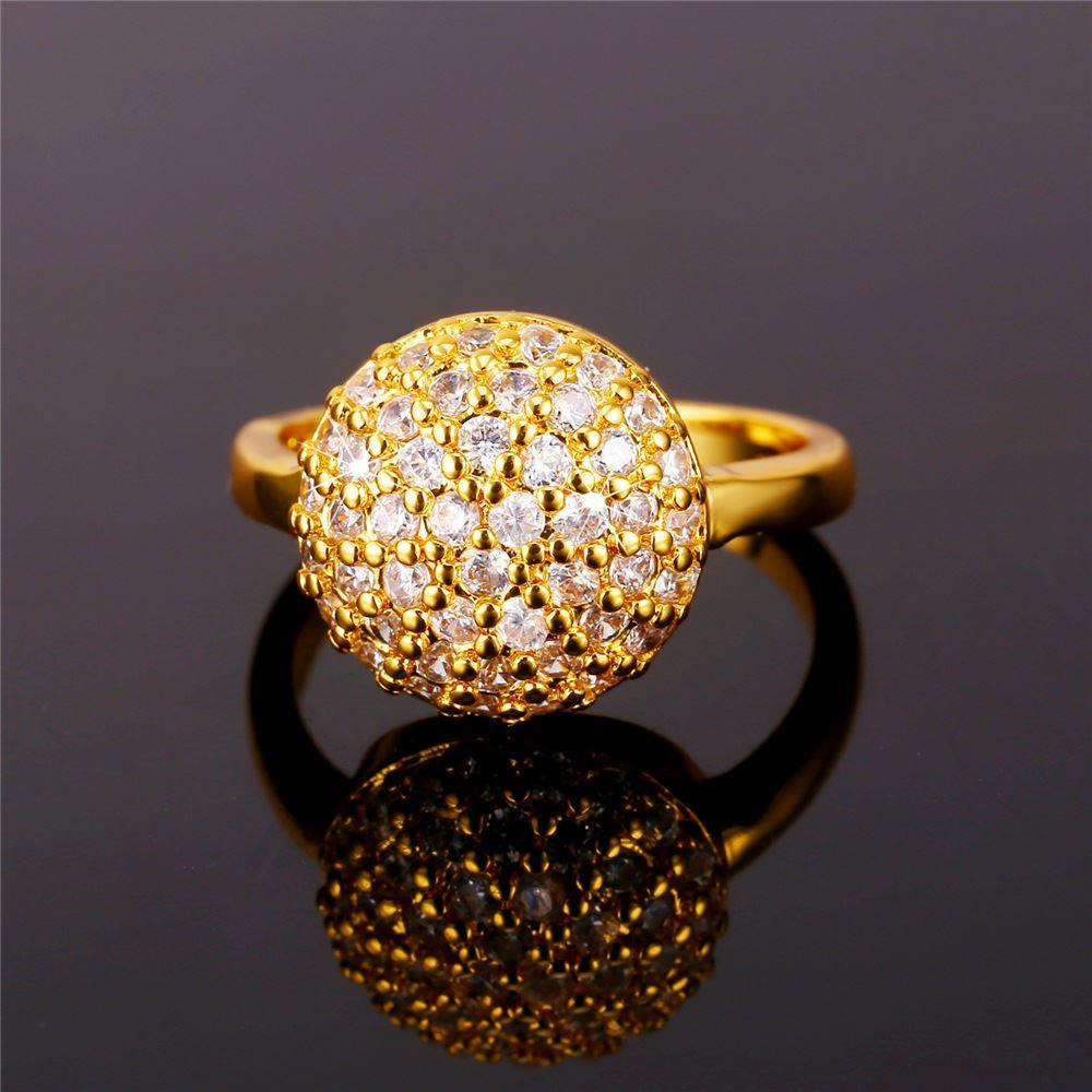 Cubic Zirconia Cluster Ring For Women Crystal Jewelry Gold Color