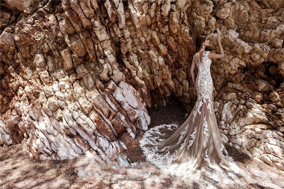 Champagne Beach 3D Pizzo Abiti da sposa con il treno staccabile di Applique puro Vedere attraverso Gonna Mermaid abito da sposa Plus Size Abiti da sposa