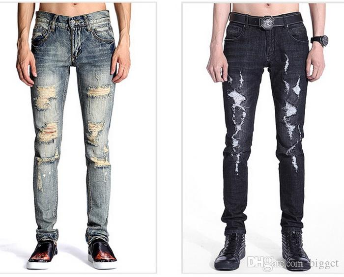 2018 Menu0026#39;S Damage Jeans Patchwork Tight Leg Cowboy Trousers Destroyed Stone Washed Skinny ...