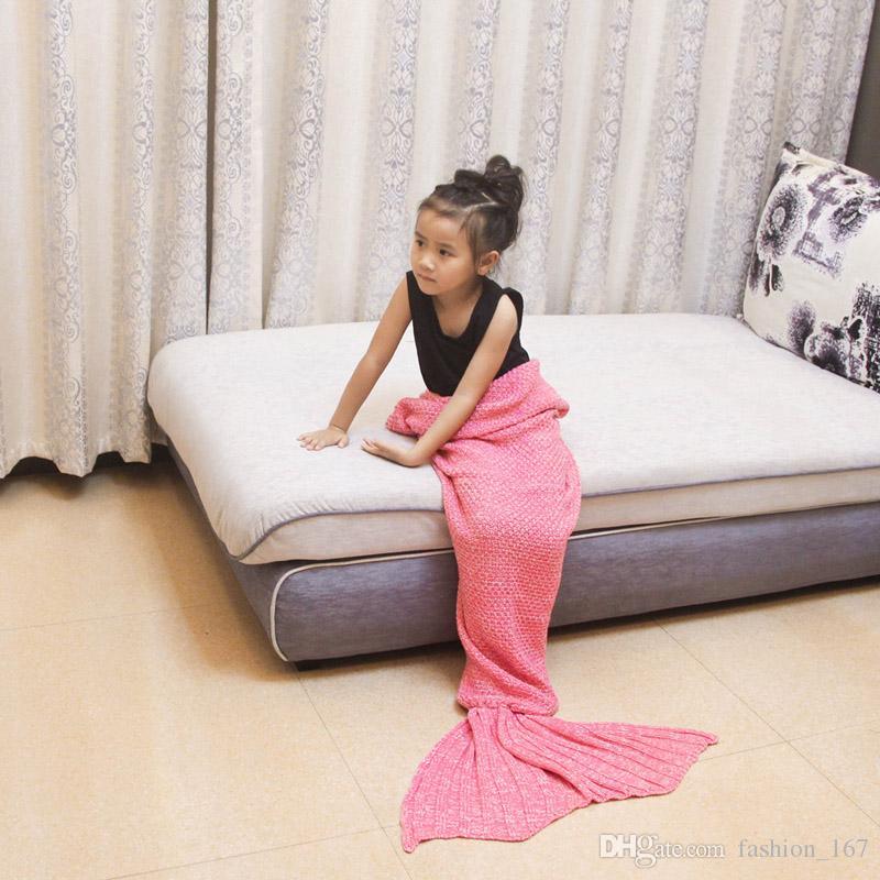 90x50 Baby Mermaid Tail Blanket Boy Girl Crochet Warmer