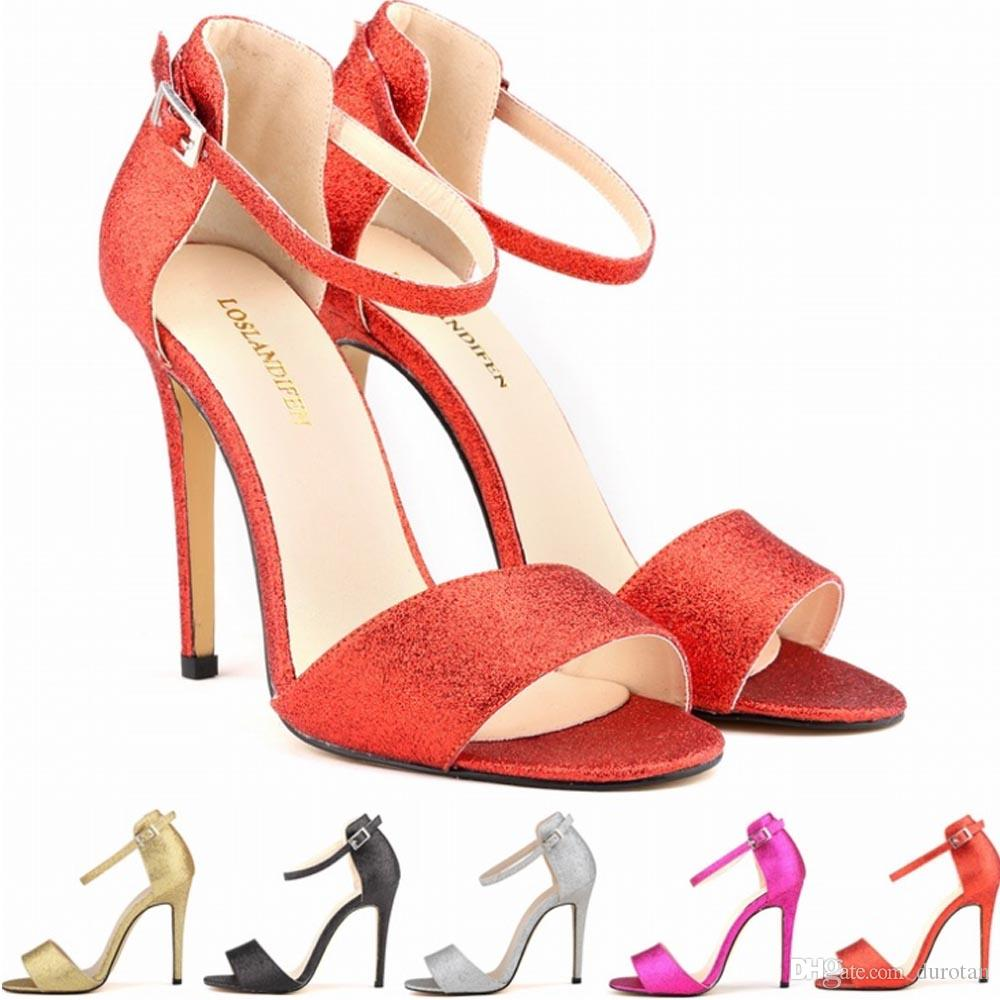 Europe Style Ladies Women Sandals Shoes Girls Party Toe Bridal Sequined High  Heels Shoes Shine Sandals US SIZE 4 5 6 7 8 9 10 11 D0011 Red Wedges Summer  ... d357e8ddeca2