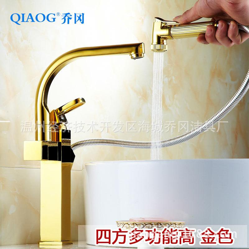 Manufacturers supply all copper, golden faucet, kitchen rotating suction gun, hot and cold water trough, vegetable pots, leading wholesale