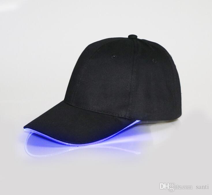 Fashion Hot LED Light Hat Glow Hat Black Fabric For Adult Baseball Caps Luminous For Selection Adjustment Size Xmas Party