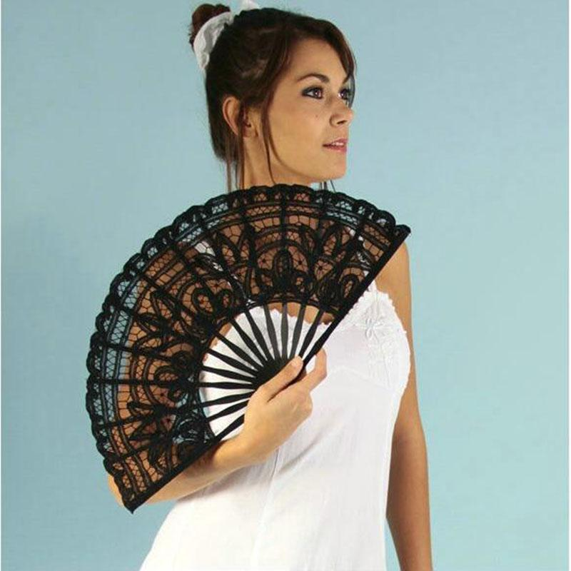 Vintage Palace Style Handmade Ivory Battenburg lace Embroidery Wedding 27cm Fan Woman Hand Fan High Quality