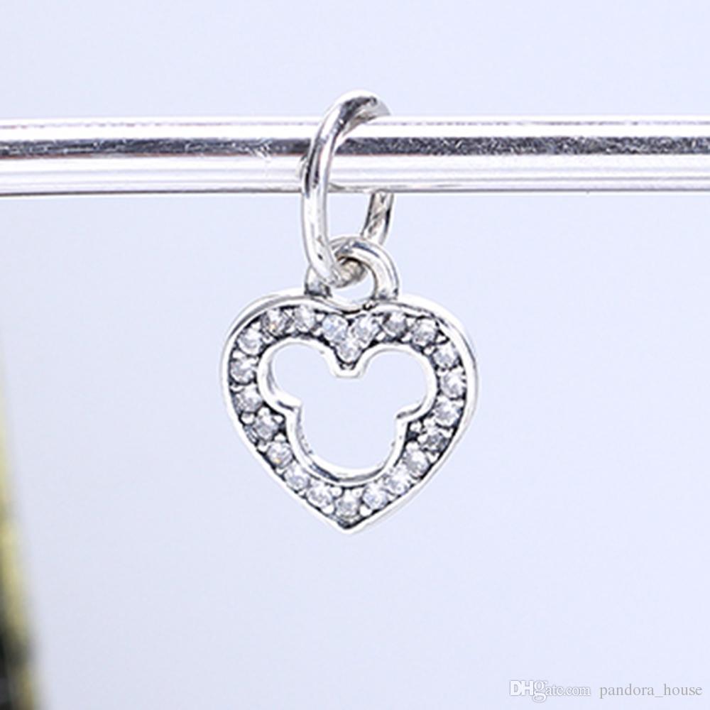 Réel 925 Sterling Argent Non Plaqué Michey Coeur Pendentif Charme Charmes Européen Perles Fit Pandora Serpent Chaîne Bracelet DIY Bijoux