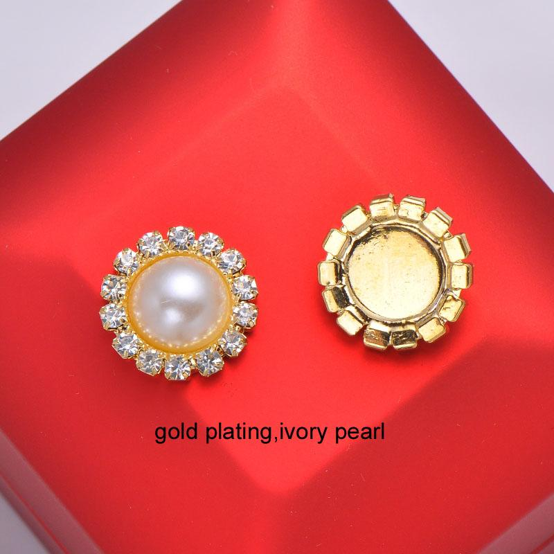 (L0006)10pcs 15mm diameter rhinestone embellishment ,flat back,ivory or pure white pearl,silver or gold plating