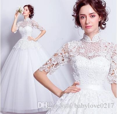 2017 New Luxury Wedding Dress Chinese Style In Cheongsam Lace Embroidered A Line Sweep Train High Collar Princess Bridal Gown With Sleeve