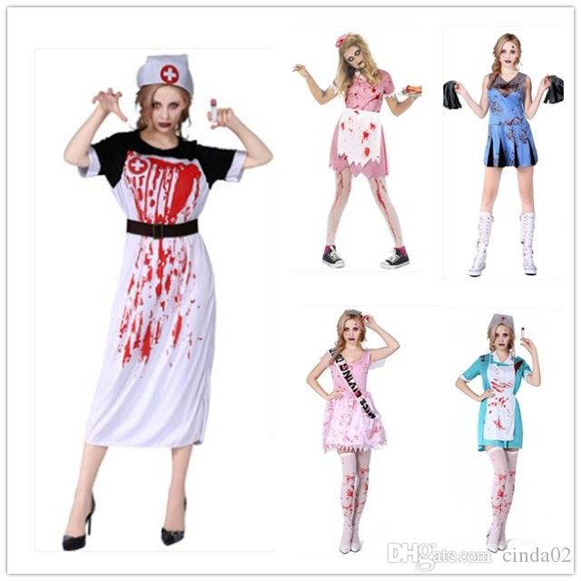 female nurse halloween costume horror bloody waitress cheerleader party dress adult popular halloween themes halloween costumes themes for work from cinda02 - Popular Halloween Themes