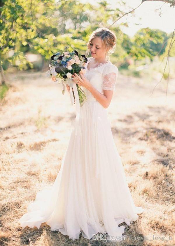 Vintage Country Style A Linia Suknie ślubne V Neck Lace Top Szyfonowa Spódnica Suknie Ślubne Skromna suknia ślubna z krótkimi rękawami