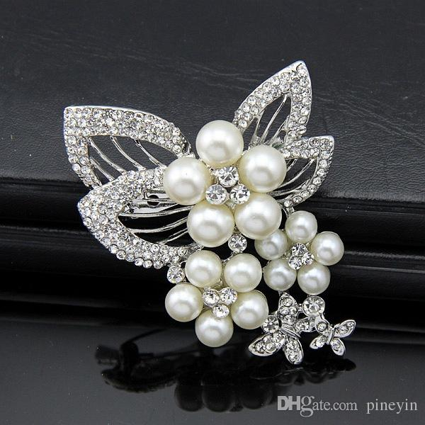 Beautiful Flower Pearl Crystal Brooches Silk Buckle Fashion For blouse and dress Not include Box NE744