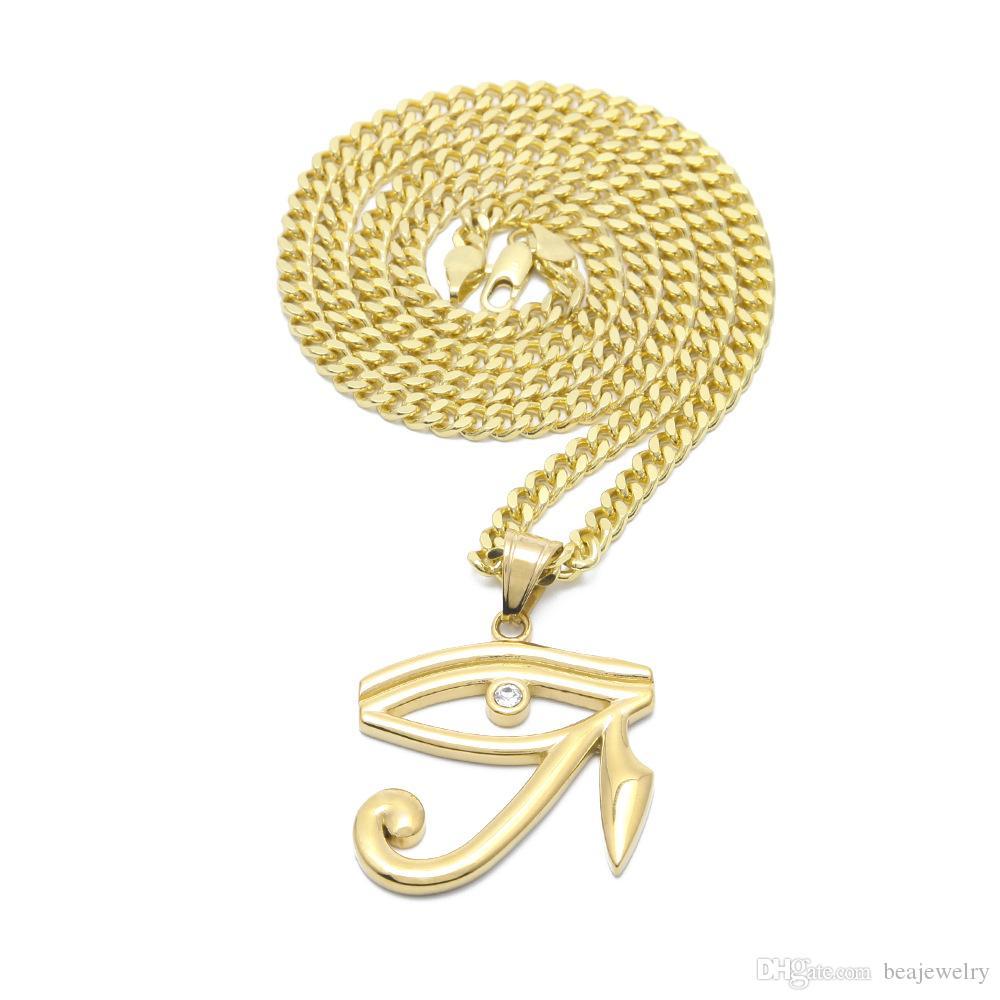 HipHop Wedjat Eye Anhänger Halskette Hohe Qualität Goldton Eis Kristall Baby Cherub Charm Anhänger Halskette