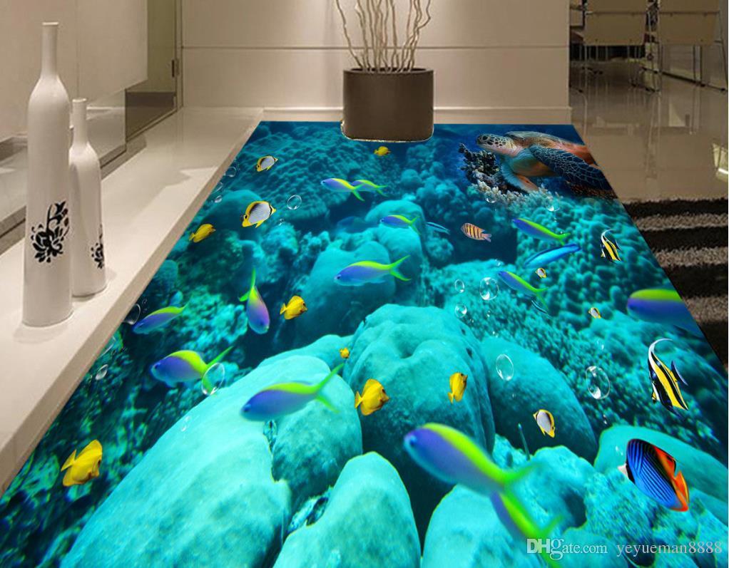 3d flooring Custom wallpaper scenery for walls Ocean World 3d floor wallpapers for bed room 3d floor painting