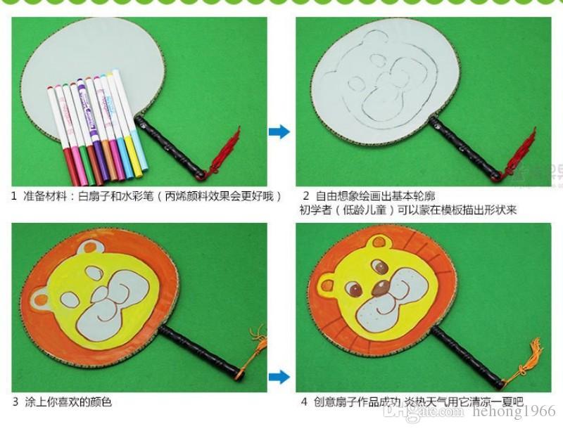 Gli studenti Bambini Fan Plain White fai da te Pittura programma gestisce in legno fan possono Iscrizioni pittura la pratica con il sacchetto di OPP 2QH H R
