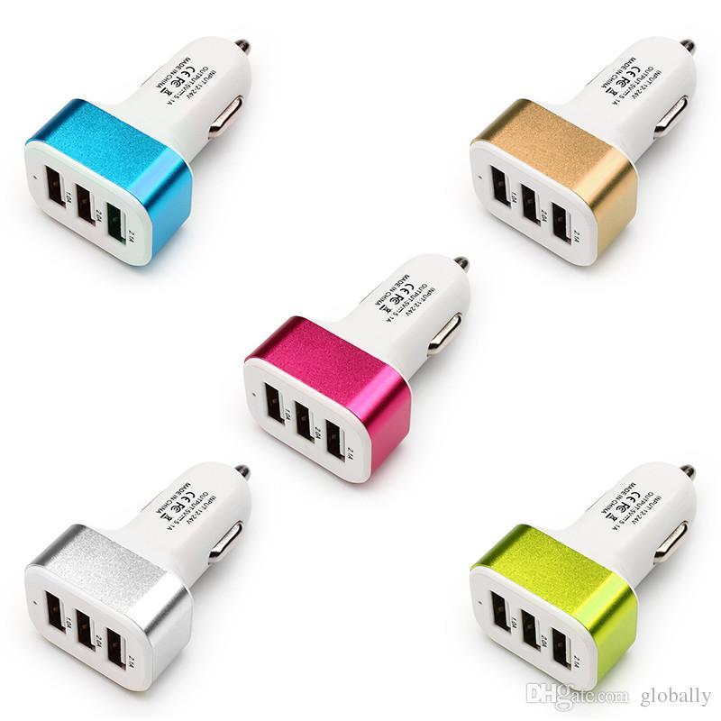 3 Port Car Cigarette Lighter Socket Splitter Charger Power Adapter DC+USB 12V-24V for Smartphone