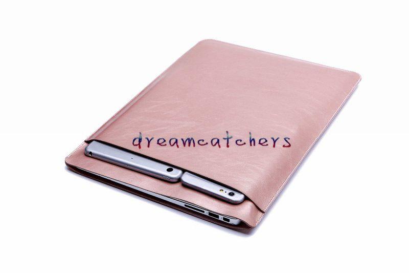 Luxo Retina Sleeve Case Double-deck Bolsa de Bolso Macbook Laptop Bags PU de Couro Capa Protetora para Apple MacBook air 11 13 12 polegada