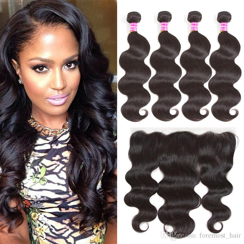 8a Malaysian Straight Virgin Human Hair Weave Bundles With 13x4 Lace
