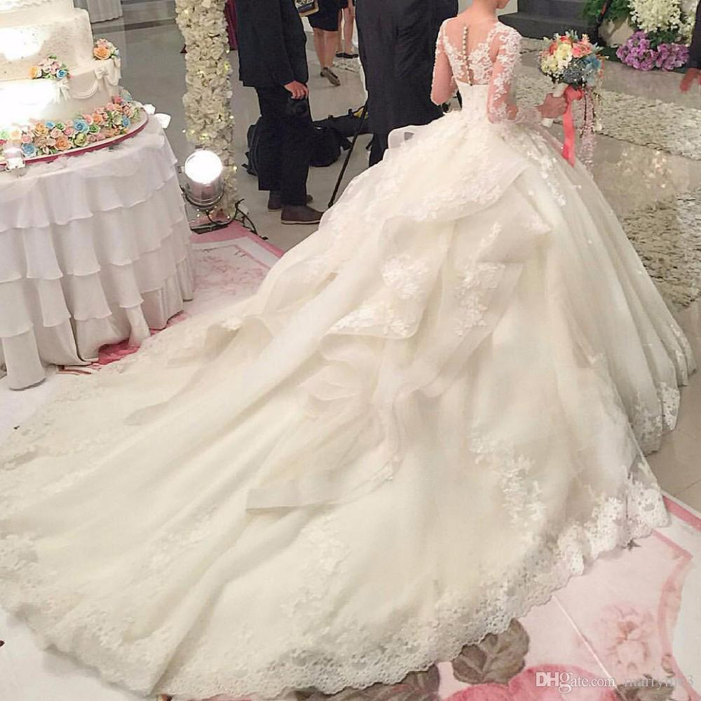 Discount Luxury Berydress Wedding Gown With Royal Train