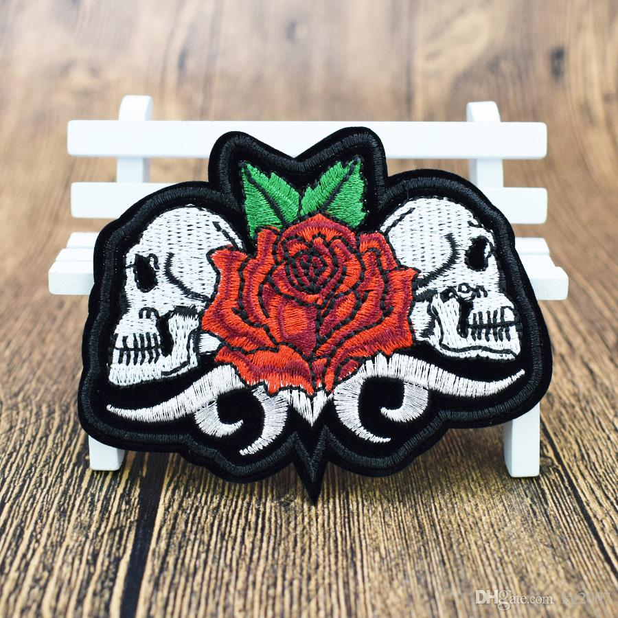 Twins Skull with Rose Patches for Clothing Iron on Transfer Applique Patch for Jacket Jeans DIY Sew on Embroidered Badge