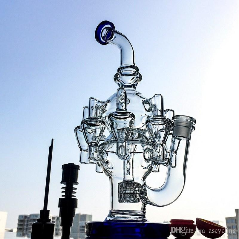 Recycler Glass Bongs With Matrix Perc Water Pipes Oil Rigs With 14mm joint Octopus Arms Glass dab rigs OA01-4